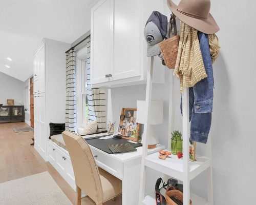 White Entryway Storage Desk Cabinetry