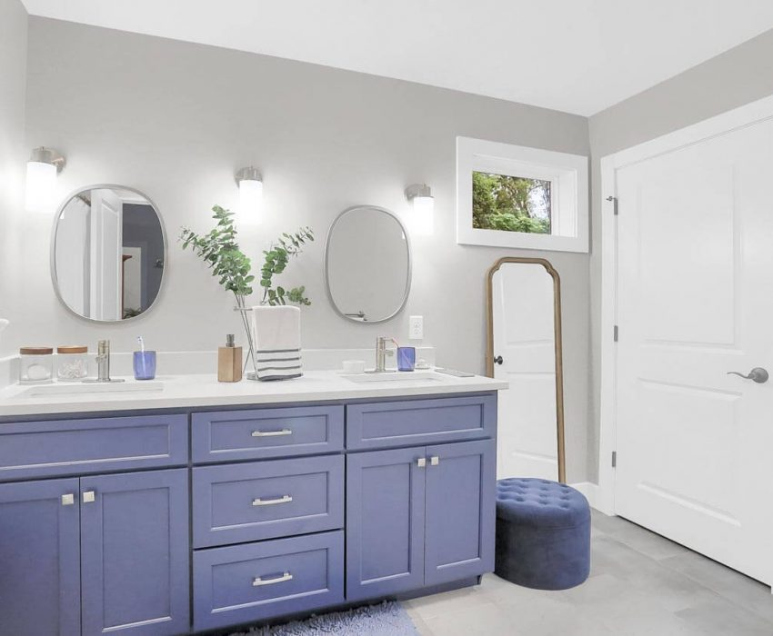 Navy Blue with white quartz Master vanity