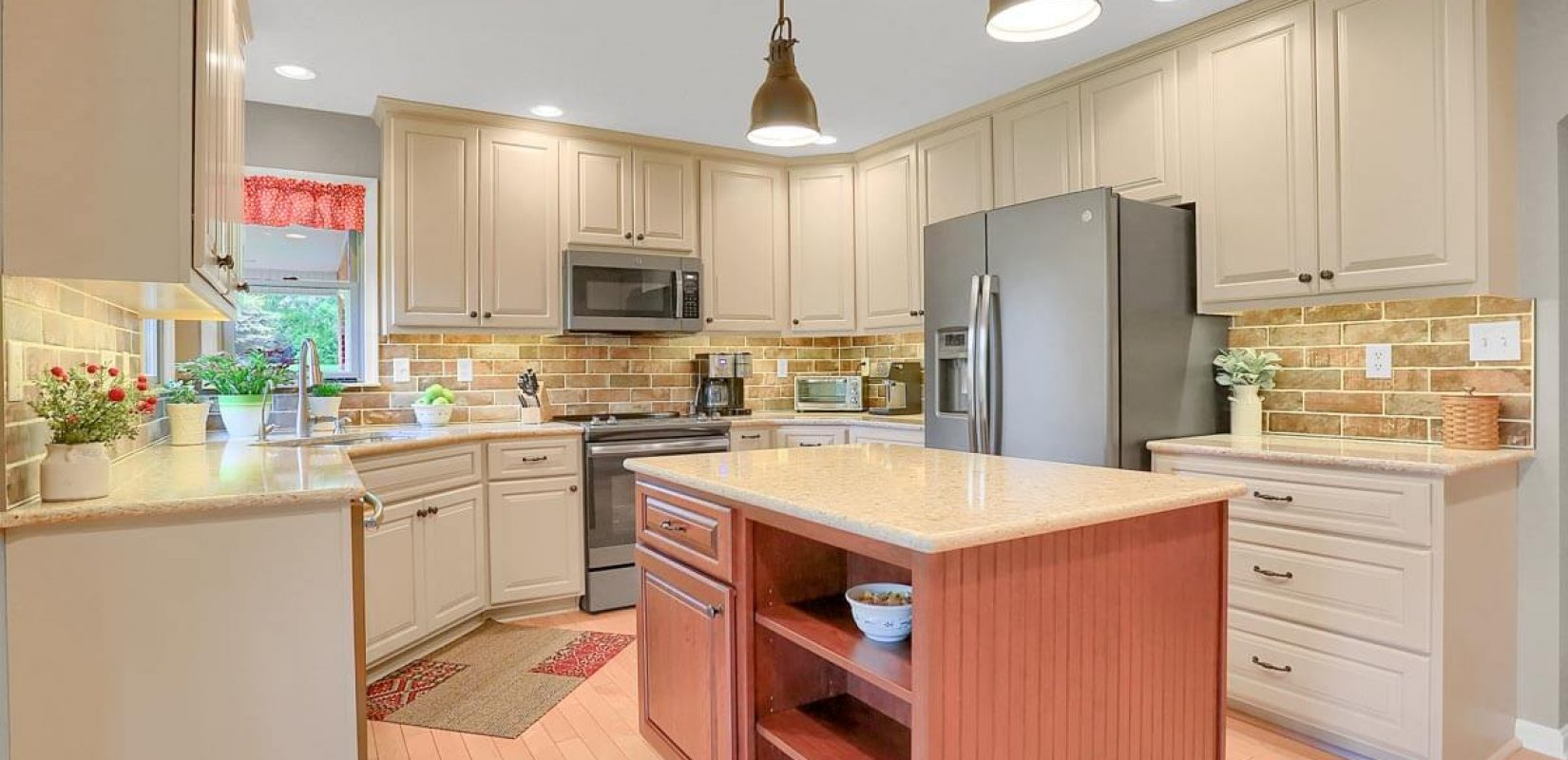 Painted Kitchen with Cherry Island