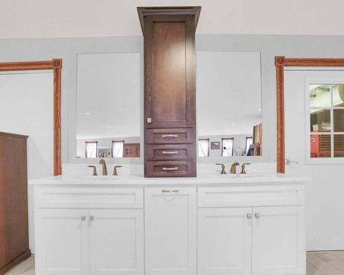 White Vanity with Tower Cabinet