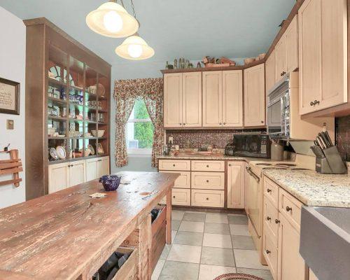 Rustic Farmhouse kitchen tin backsplash