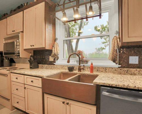 Farmhouse copper sink cabinet