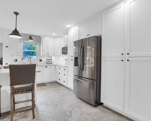 White Shaker Pantry Refrigerator Cabinet
