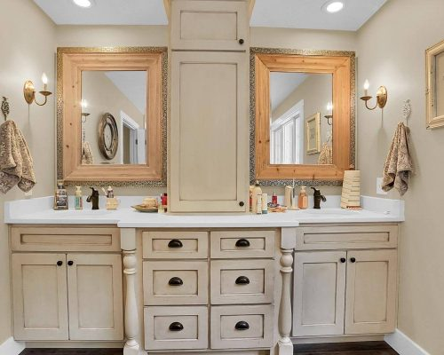 Master Bathroom double sink with tower cabinet